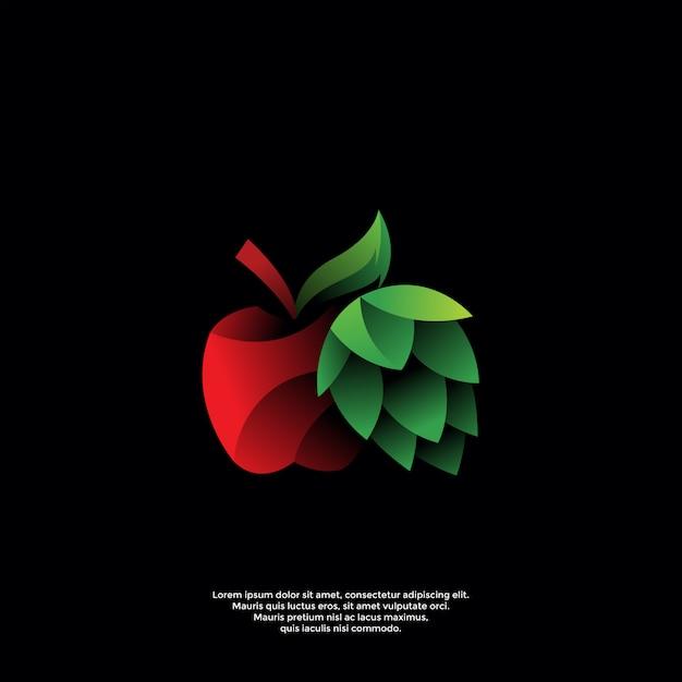 Modèle De Logo Dégradé Pomme Et Houblon Vecteur Premium