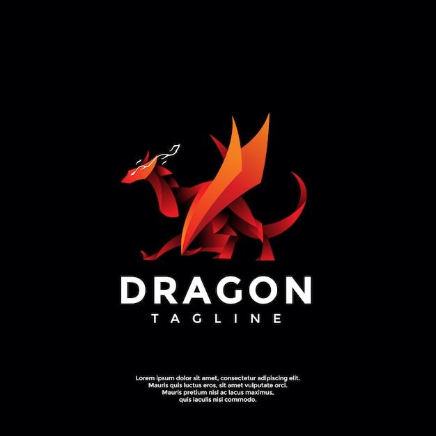 Modèle De Logo Dragon Rouge Moderne Vecteur Premium