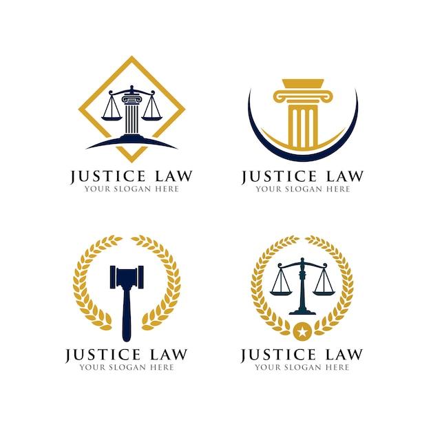 Modèle de logo de droit de la justice. Vecteur Premium