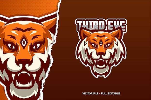 Modèle De Logo E-sport Third Eye Tiger Vecteur Premium