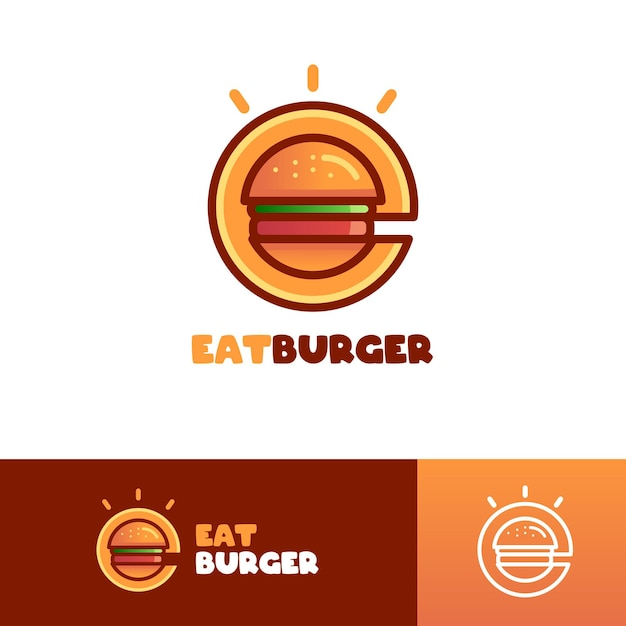 Modèle De Logo Eat Burger Lettre E Vecteur Premium