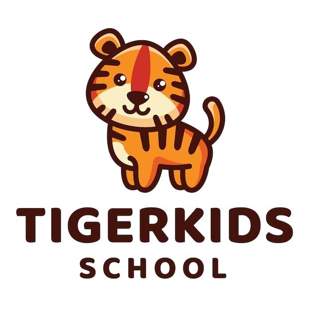 Modèle de logo d'école tiger kids Vecteur Premium