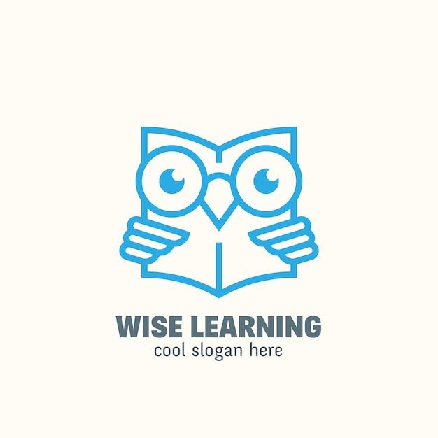 Modèle De Logo Education Style Smart Line. Emblème D'apprentissage. Vecteur Premium
