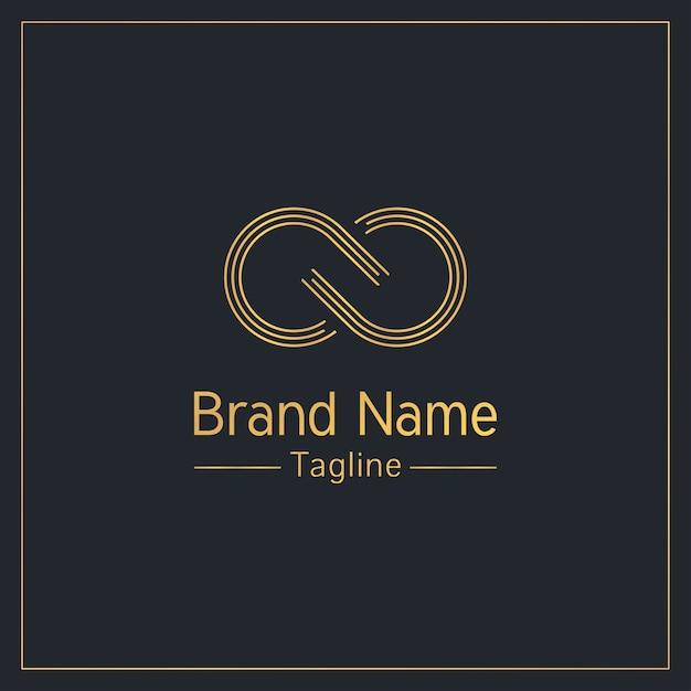Modèle De Logo élégant Signe Infini Doré Vecteur Premium