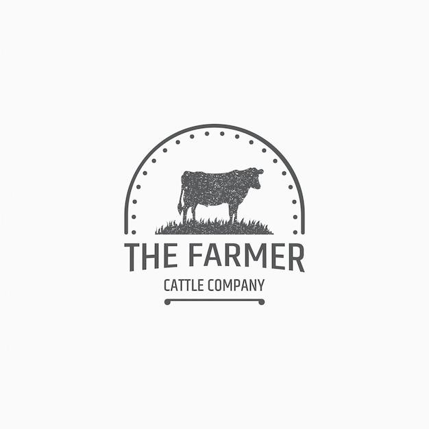 Modèle De Logo D'élevage De Vaches Vecteur Premium