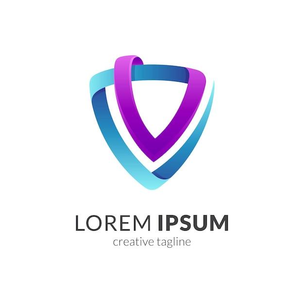 Modèle De Logo Emblème Bouclier Lettre V Vecteur Premium