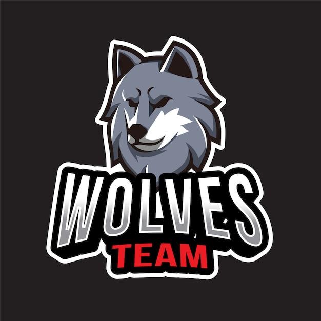 Modèle De Logo D'équipe De Loups Vecteur Premium