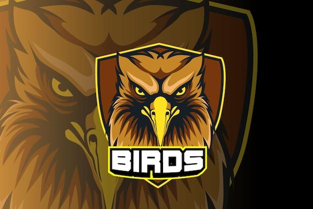 Modèle De Logo De L'équipe De Sports E Tête D'oiseaux Vecteur Premium