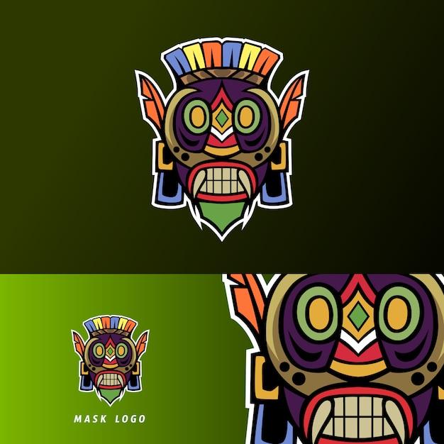Modèle de logo esport coloré masque mascotte sport primitif Vecteur Premium