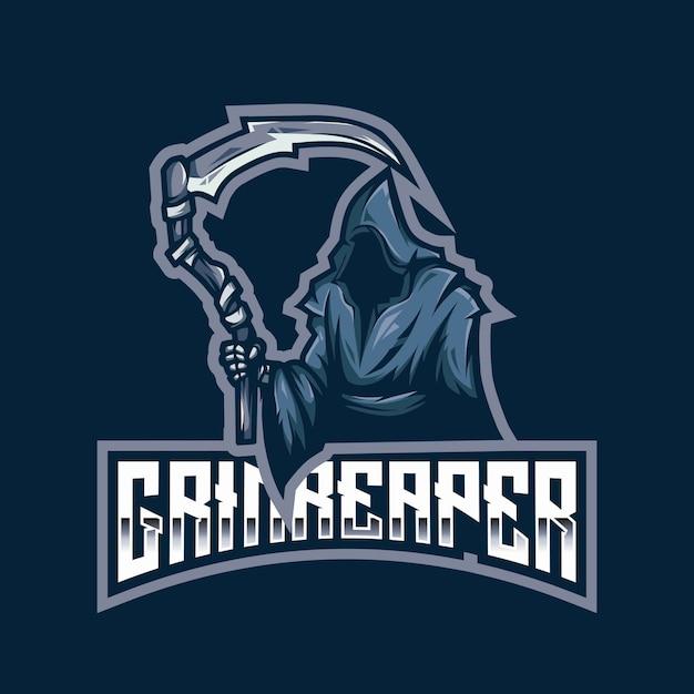 Modèle De Logo Esport Grim Reaper Vecteur Premium