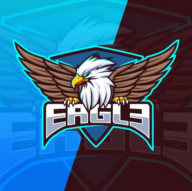 Modèle De Logo Esport Mascotte Aigle Vecteur Premium