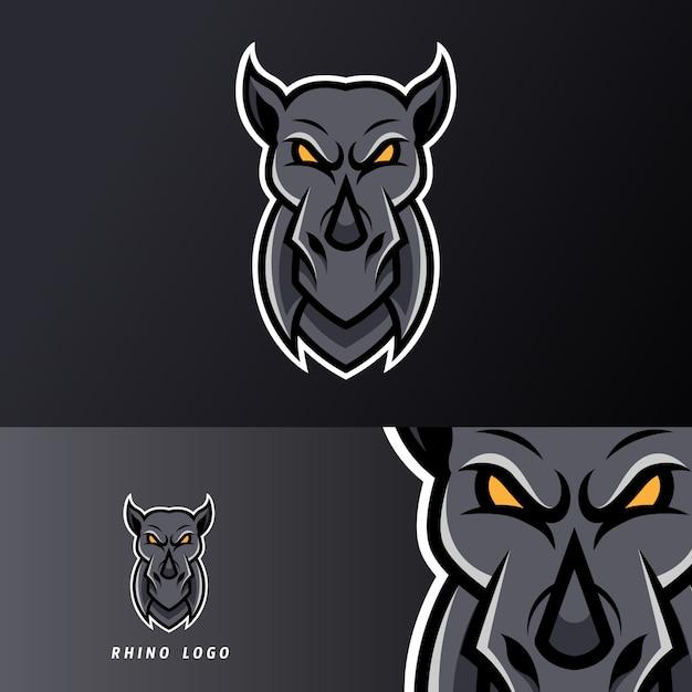 Modèle De Logo Esport Noir Mascotte Rhino Colère Sport Jeu Pour Streamer Squad Team Club Vecteur Premium
