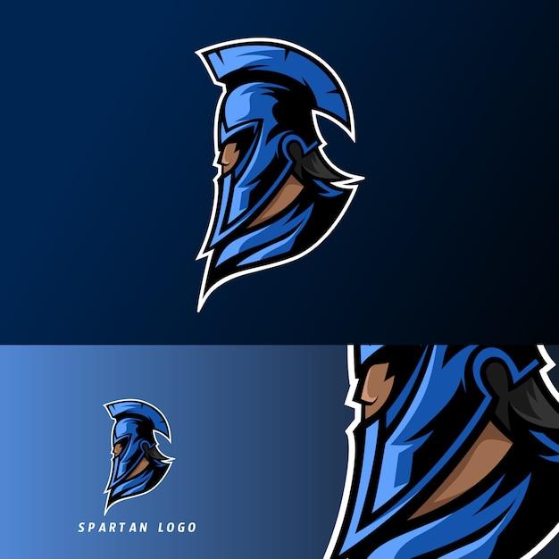Modèle de logo esport sport bleu mascotte spartan warior avec masque Vecteur Premium