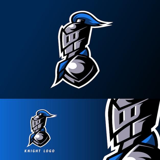 Modèle de logo esport sport blue knight avec jeu d'armure et casque Vecteur Premium