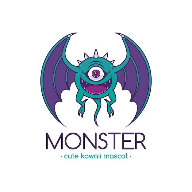Modèle De Logo Eye Monster Cartoon Vecteur Premium