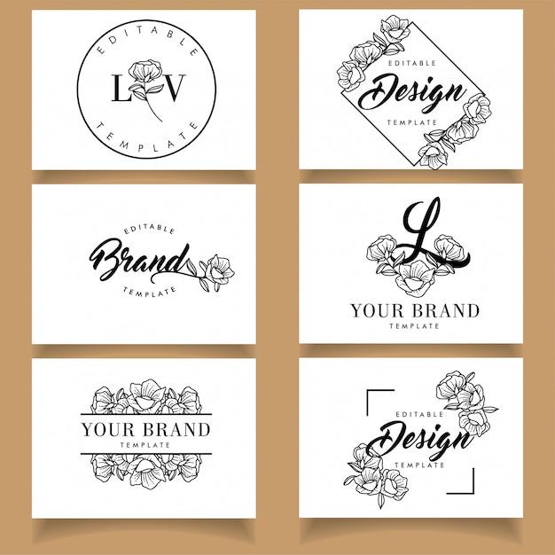 Modèle de logo féminin botanique floral sertie de carte de visite Vecteur Premium