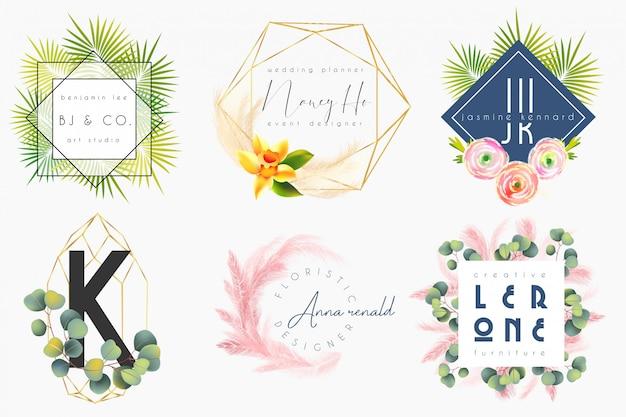 Modèle De Logo Féminin Floral Vecteur Premium