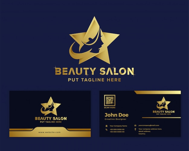 Modèle De Logo Féminin De Luxe Premium Beauté Vecteur Premium