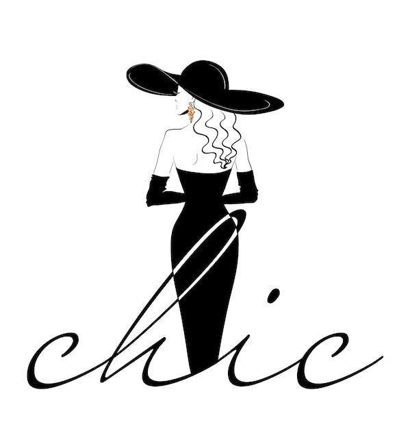 Modèle De Logo Femme Chic De Dos Au Chapeau Vecteur Premium