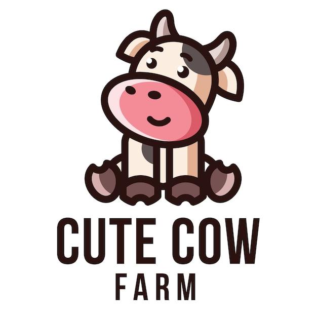 Modèle De Logo De Ferme De Vache Mignonne Vecteur Premium