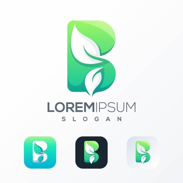Modèle De Logo Feuille B Naturel Vecteur Premium