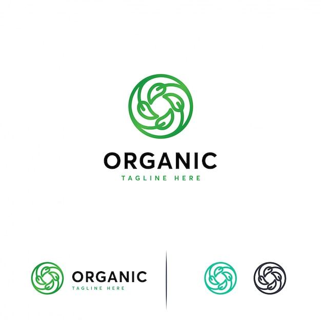 Modèle de logo de feuille de cercle Vecteur Premium