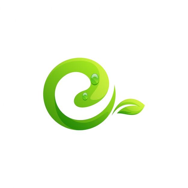 Modèle De Logo Feuille Lettre E Vecteur Premium
