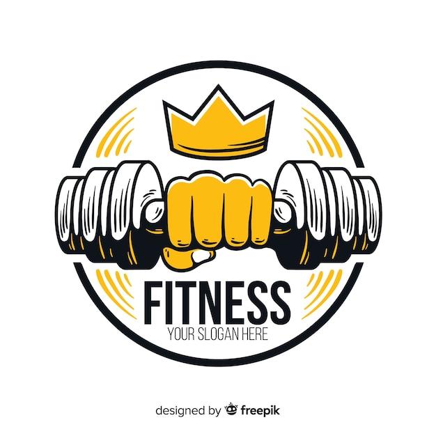 Modèle de logo fitness design plat Vecteur gratuit