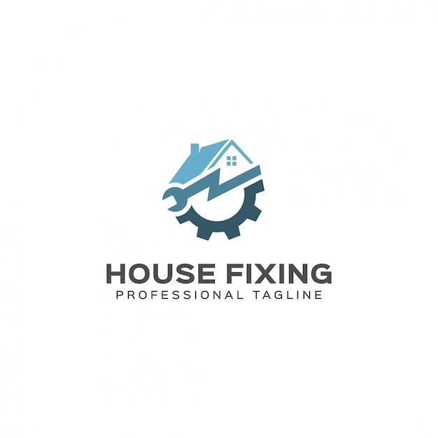 Modèle De Logo De Fixation De Maison Vecteur Premium