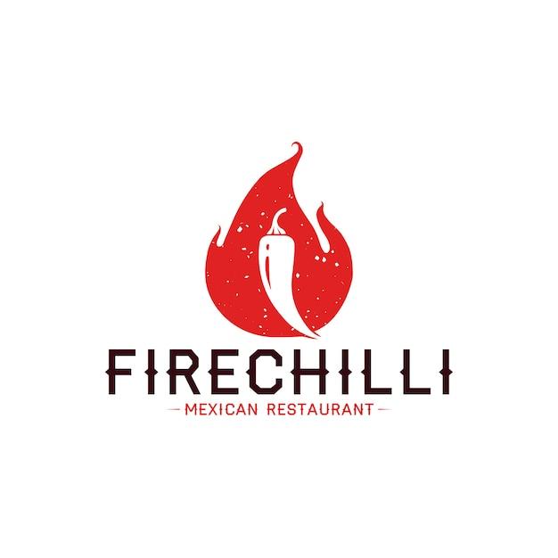 Modèle de logo de flamme de piment Vecteur Premium