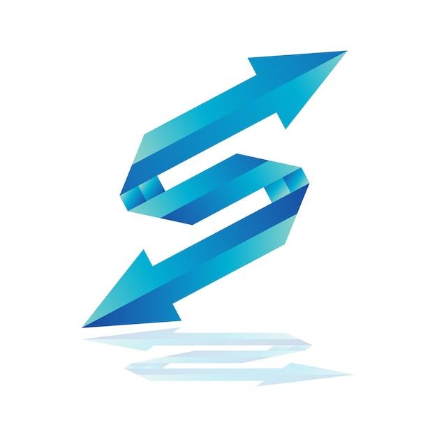 Modèle de logo de flèche de lettre s, logo de flèche bleue Vecteur Premium