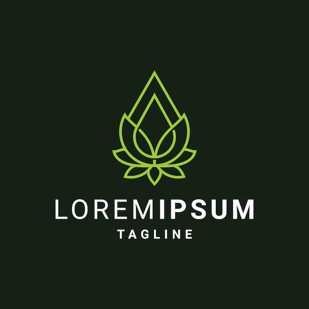 Modèle De Logo De Fleur De Lotus Avec Des Gouttes D'huile Ou D'eau Vecteur Premium
