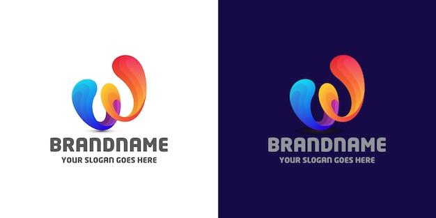 Modèle De Logo Fluide Lettre W Vecteur Premium