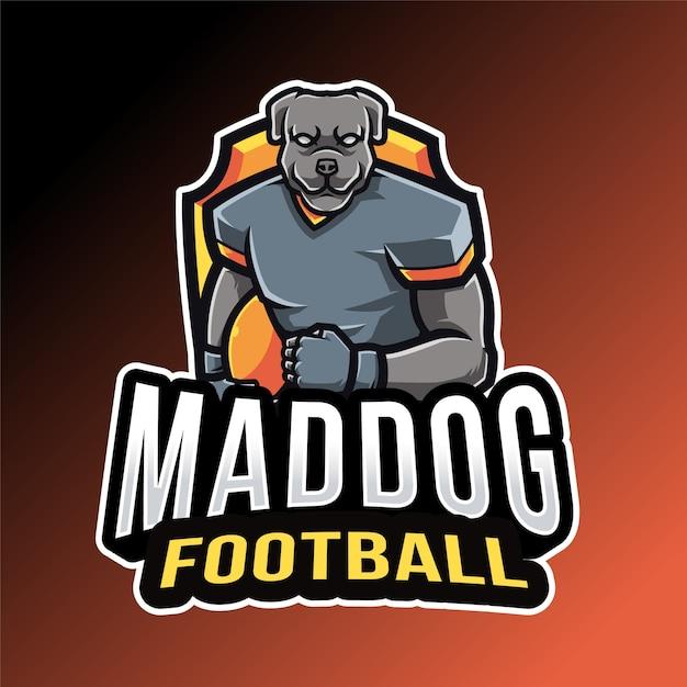Modèle De Logo De Football De Chien Vecteur Premium