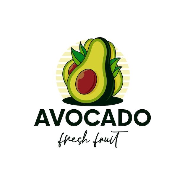 Modèle De Logo De Fruits Frais Avocat Isolé Sur Blanc Vecteur Premium