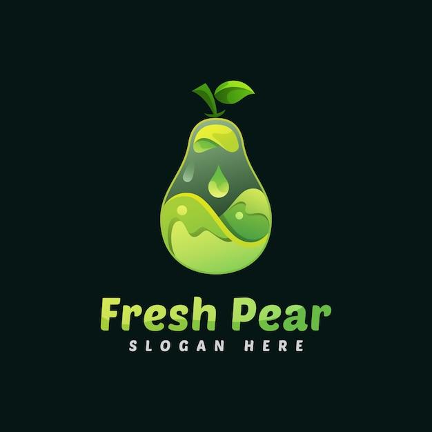 Modèle De Logo De Fruits Poire Fraîche Liquide Vecteur Premium