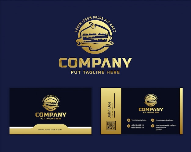 Modèle De Logo De Gâteau De Luxe Premium Vecteur Premium