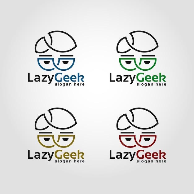 Modèle de logo geek paresseux Vecteur Premium