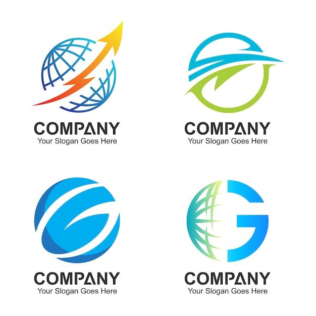 Modèle de logo globe, icônes globales, jeu de logo du monde Vecteur Premium