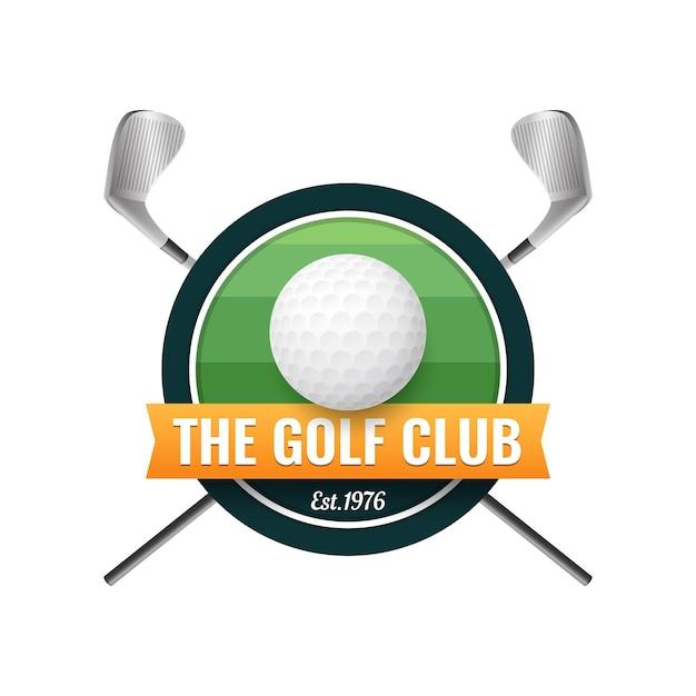 Modèle De Logo De Golf Dégradé Avec Balle Et Clubs Vecteur gratuit