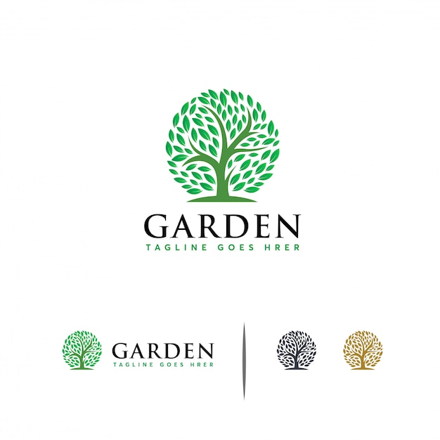 Modèle de logo green garden Vecteur Premium