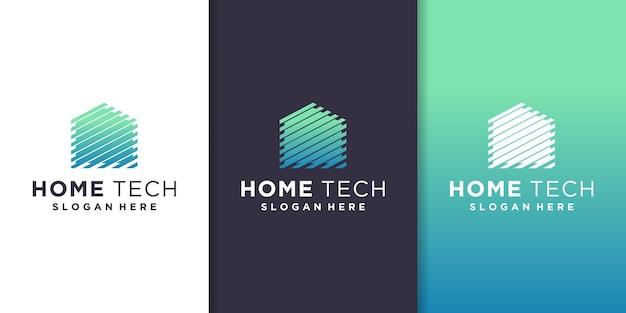 Modèle De Logo Home Tech Vecteur Premium