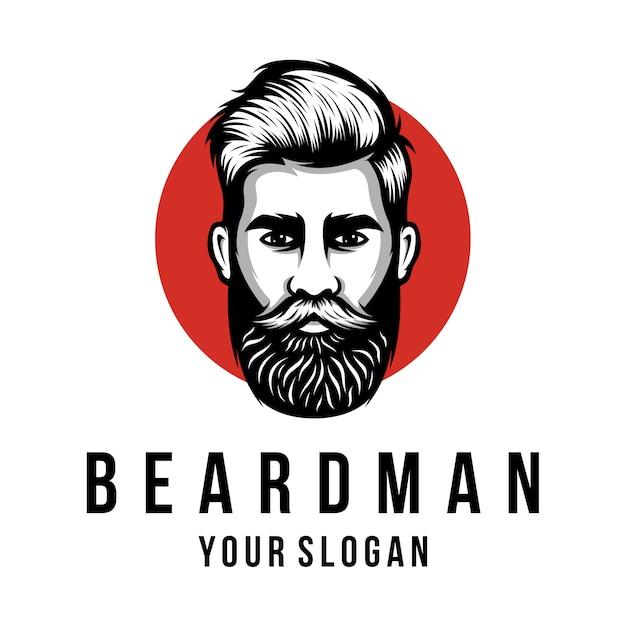 Modèle de logo homme barbe Vecteur Premium