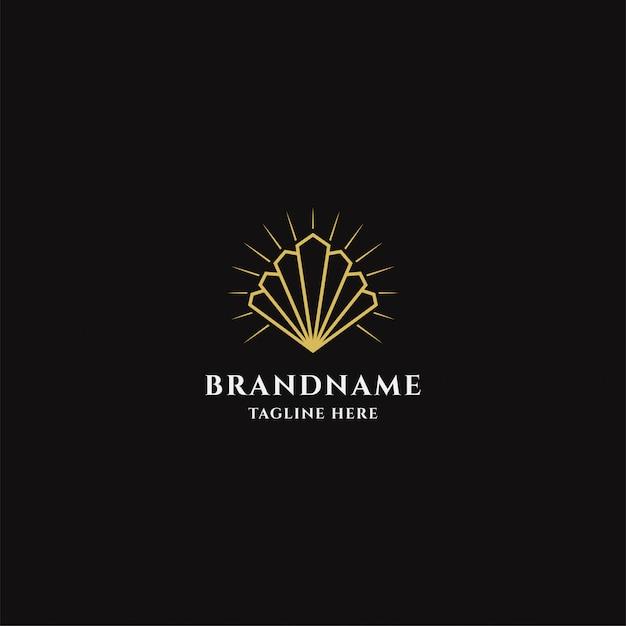 Modèle De Logo D'huître D'or Vecteur Premium