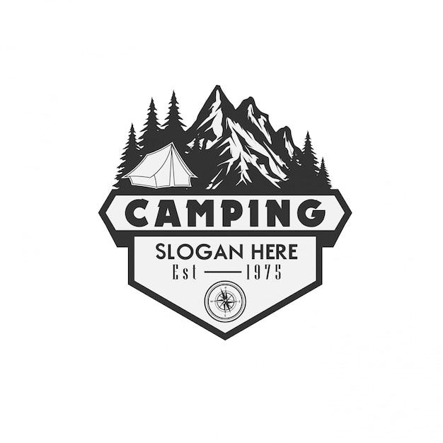 Modèle logo illustration vectorielle camping Vecteur Premium