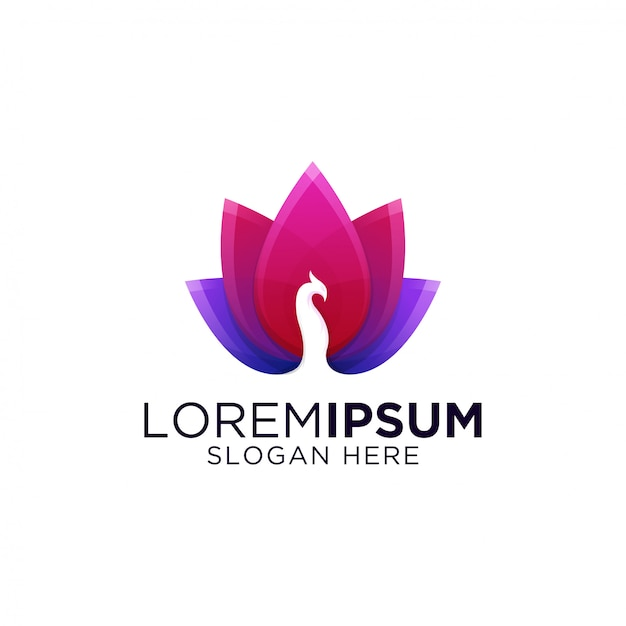 Modèle de logo impressionnant dégradé coloré paon Vecteur Premium