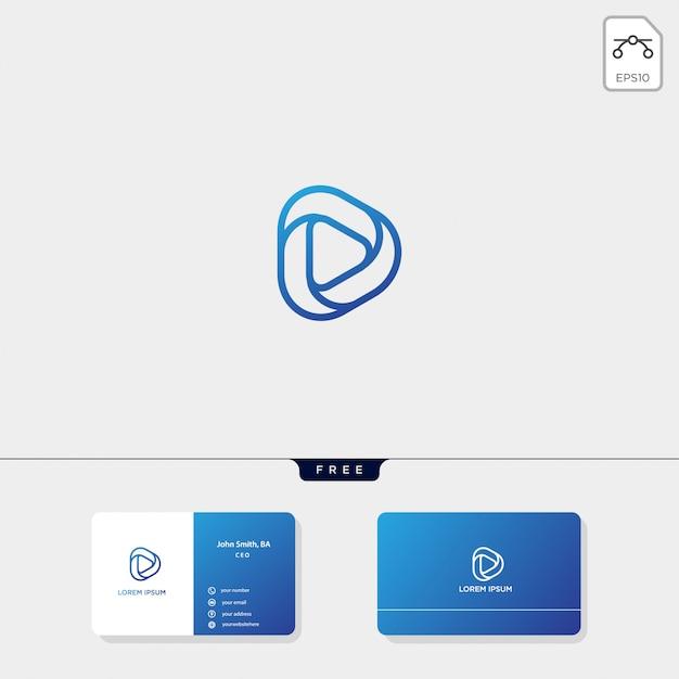 Modèle de logo initial d, modèle de conception de carte de visite inclus Vecteur Premium