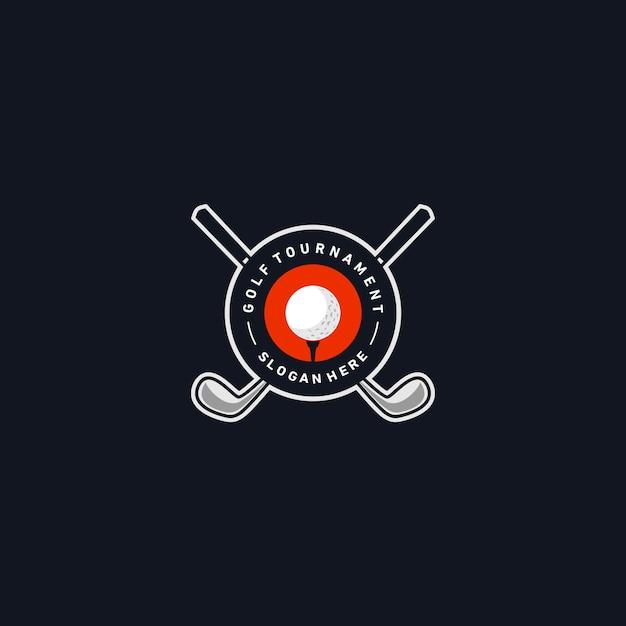 Modèle de logo insigne de golf Vecteur Premium