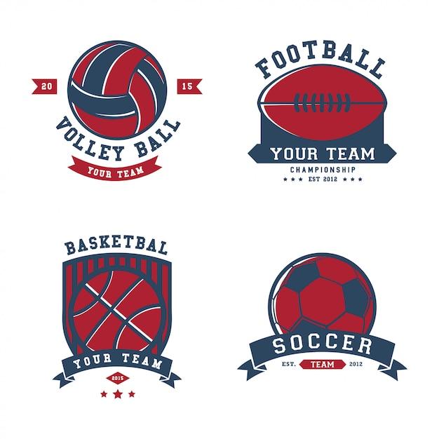 Modèle de logo insignes de sport Vecteur Premium