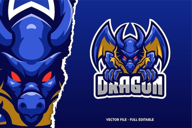 Modèle De Logo De Jeu Blue Dragon E-sport Vecteur Premium